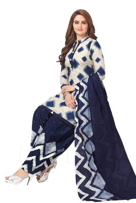 White printed crepe salwar with dupatta
