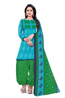 Blue printed crepe salwar with dupatta