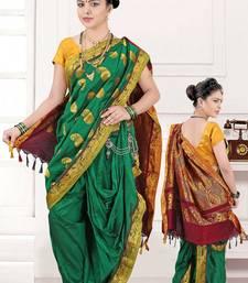Green Poly Cotton Silk nauvari saree