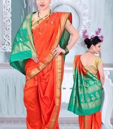 Orange Poly Cotton Silk nauvari saree