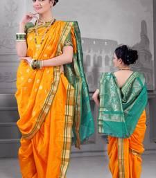 Buy Gold Poly Cotton Silk nauvari saree pre-stitched-saree online