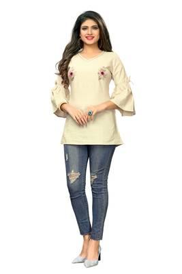 Beige embroidered cotton cotton-kurtis