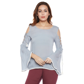 Grey plain viscose party tops