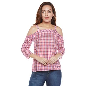 Pink plain cotton party tops
