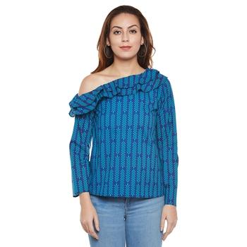Blue plain cotton party tops