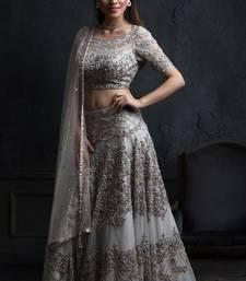 Buy Grey embroidered net semi stitched lehenga lehenga-choli online