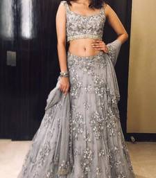 Grey embroidered net semi stitched lehenga lehenga-choli