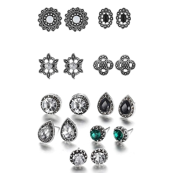 Multicolor crystal combo-earrings