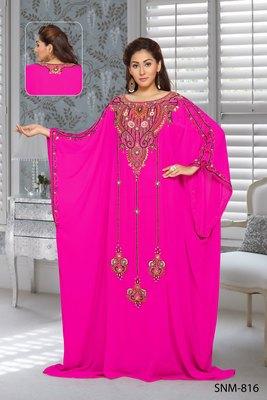 georgette pink embroidered zari work farasha