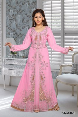georgette pink embroidered zari work islamic kaftans