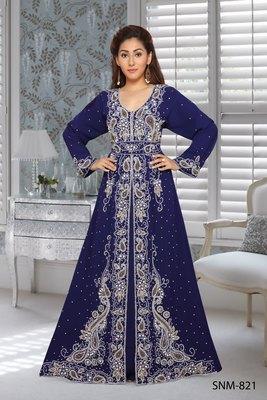 georgette navy blue embroidered zari work islamic kaftans