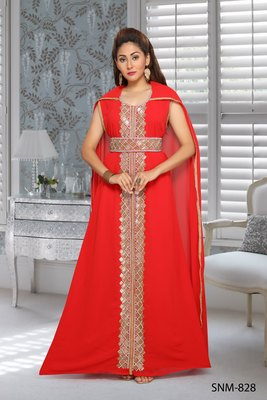 Georgette Red Embroidered Zari Work Islamic Kaftans