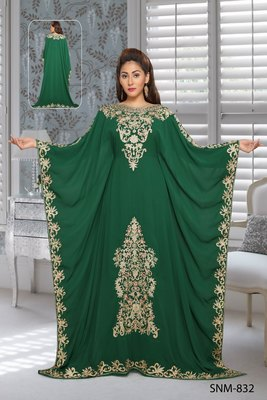 Georgette Green Embroidered Zari Work Farasha