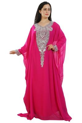 Pink Georgette Embroidered Zari Work Islamic Kaftans