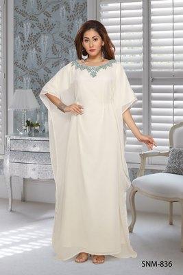 Georgette Off White Embroidered Zari Work Farasha
