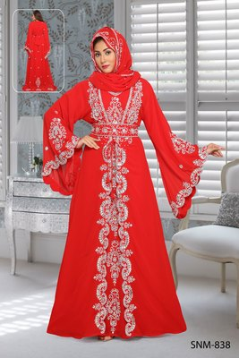 Georgette Red Embroidered Zari Work Islamic Kaftans With Hijab