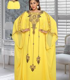 Georgette Yellow Embroidered Zari Work Farasha