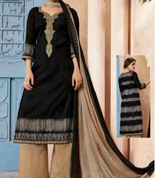 Buy Beige embroidered cotton salwar with dupatta palazzo online