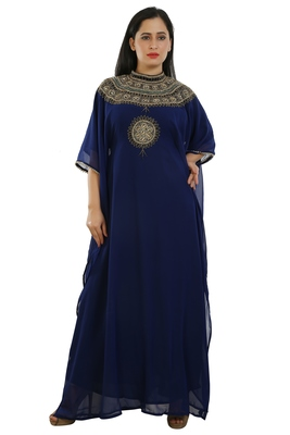 navy blue georgette embroidered zari work islamic kaftans