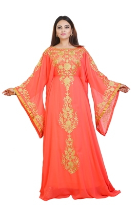 Orange Georgette Embroidered Zari Work Islamic Kaftans