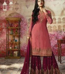 Buy Pink resham embroidery georgette salwar with dupatta palazzo online