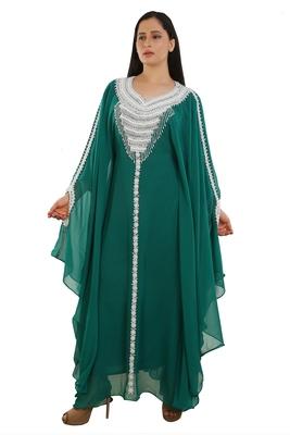 Sea Green Georgette Embroidered Zari Work Islamic Kaftans