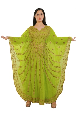 Lemon Georgette Embroidered Zari Work Islamic Kaftans
