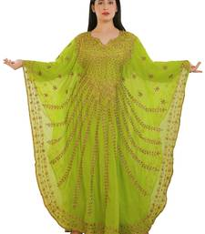 Lemon Georgette Embroidered Zari Work Islamic Kaftans