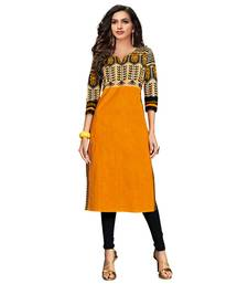 Orange printed cotton kurti