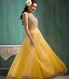 Buy Yellow work net salwar anarkali-salwar-kameez online