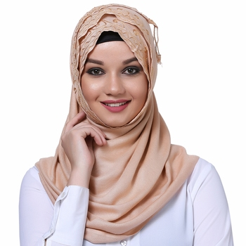Viscose Beige embroidered hijab