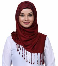 Viscose Red embroidered hijab