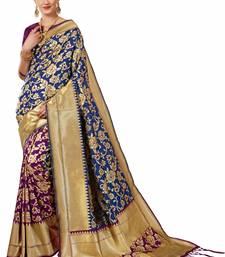 Buy Multicolor woven banarasi saree with blouse banarasi-saree online