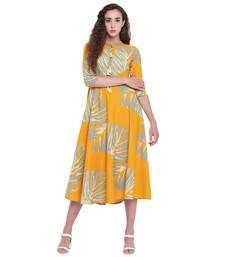 Yellow printed rayon kurtas-and-kurtis
