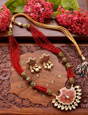 Designer Floral Peacock Meenakari Kundan Studed Onyx Stone Multilayer Necklace Set with Earrings