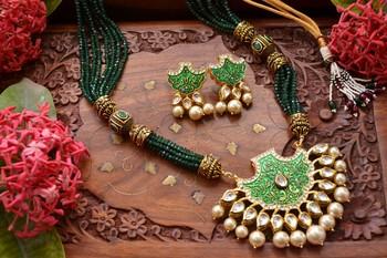 c537269683 Designer Floral Peacock Meenakari Kundan Studed Onyx Stone Multilayer Necklace  Set with Earrings