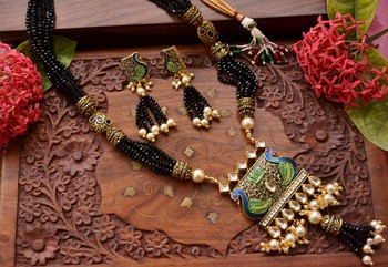 Designer Floral Peacock Meenakari Kundan Studed Onyx Stone Multilayer Necklace Set with Earrings