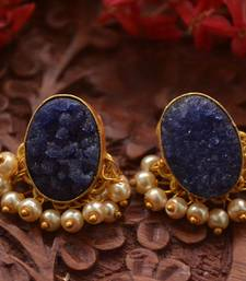 Designer Druzzy Semi Precious Stone Party Wear Studs Earrings with Bunched Pearls in Bottom