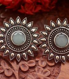 Designer Onyx Stone Silver Plated Oxidised Floral Studs Earrings