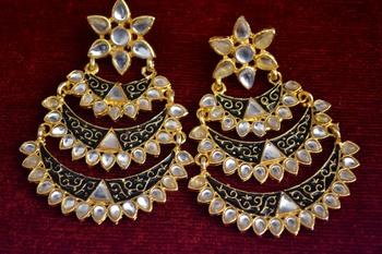 Designer Kudan Stone Floral Pearl Stone Meenakari Chandbali Chandelier Dangler Earrings