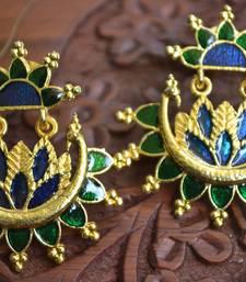 Designer Multicolour Meenakari Filled Peacock and Floral Motif Dangler Stud Earrings