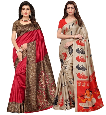 Multicolor printed poly silk combo saree with blouse