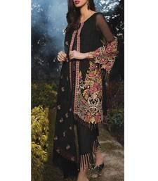 Buy Black chiffon pakistani salwar with dupatta pakistani-salwar-kameez online