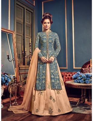 Mint Blue Georgette Lehenga Style Salwar Kameez