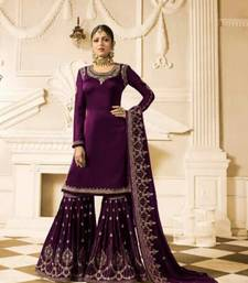 Buy Purple embroidered georgette salwar with dupatta sharara online