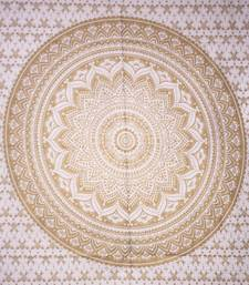 Round Mandala Gold Color Tapestry Poster