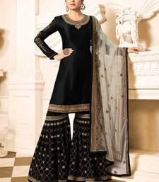 Buy Black embroidered satin salwar with dupatta sharara online