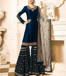 Buy Blue embroidered satin salwar with dupatta sharara online