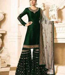 Buy Green embroidered satin salwar with dupatta sharara online