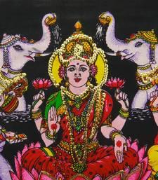 Ganesha, Lakshmi Saraswati Black Color Tapestry Poster